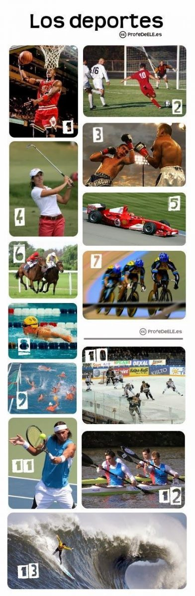 Ficha ilustrada para aprender el vocabulario de los deportes. Actividad online aquí: http://bit.ly/1q0uLhv | Más materiales en www.profedeele.es