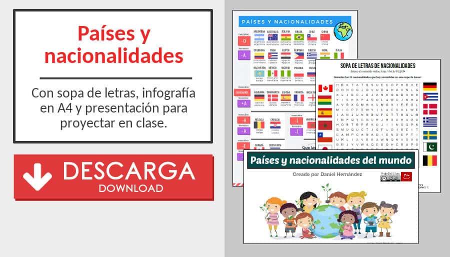 Países Y Nacionalidades En Español Profedeelees