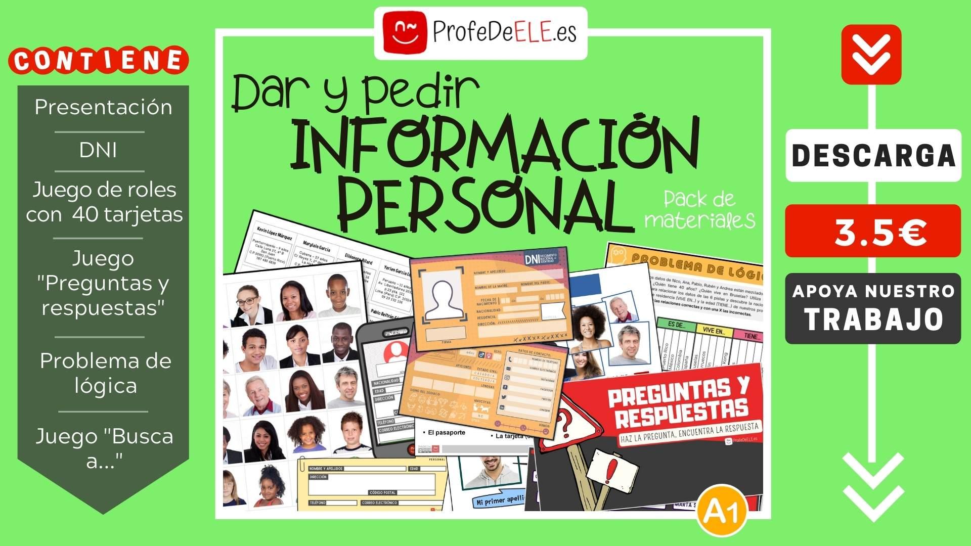 Dar Y Pedir Informacion Personal En Espanol Profedeele Es